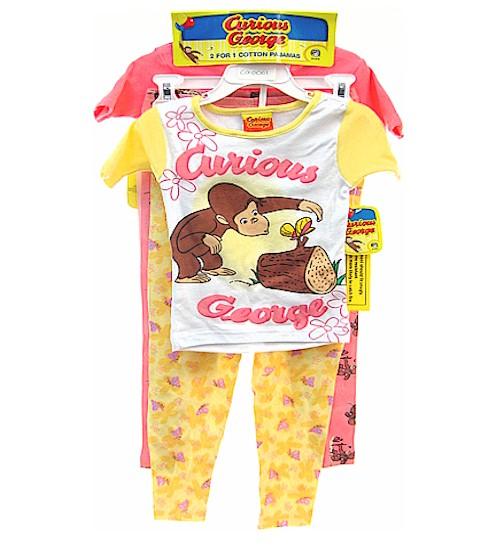 Curious George Girls 4 Piece Pajama Sleepwear Set - 2 Shirts   2 Pants by Curious  George f223e18ba