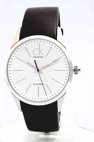 calvin klein k2241138 ck watch men s white dial brown genuine calvin klein k2241138 ck watch men s white dial brown genuine leather by calvin klein