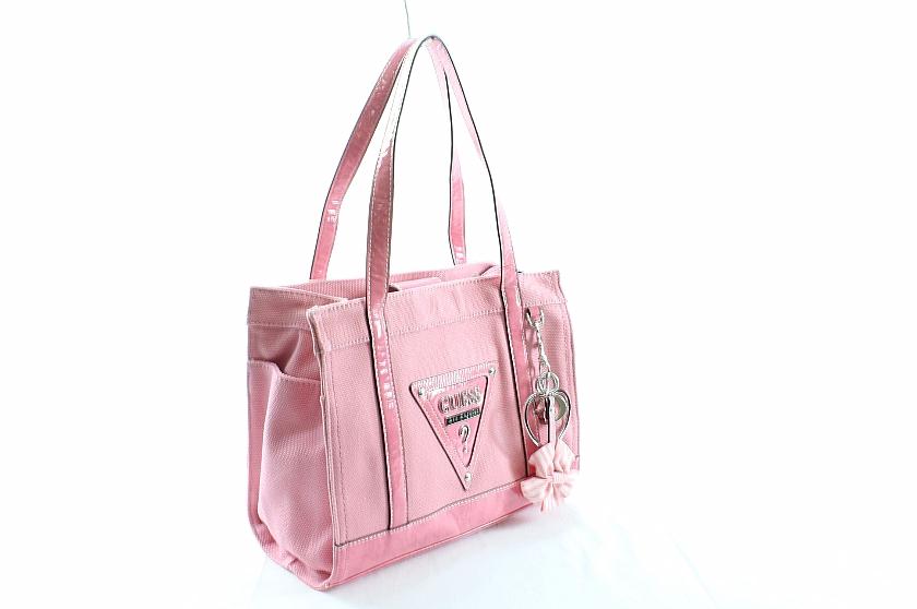 Guess Sus Handbag Las Small Carryall Pink Purse Canvas By