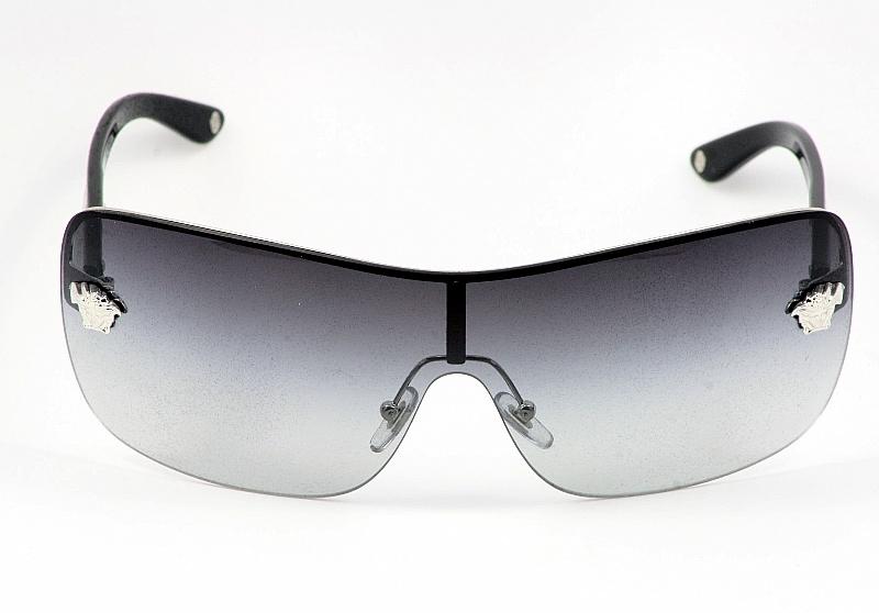374c2d911e Versace Sunglasses 2119 1000 8G Silver Black Women s Metal Shields by  Versace