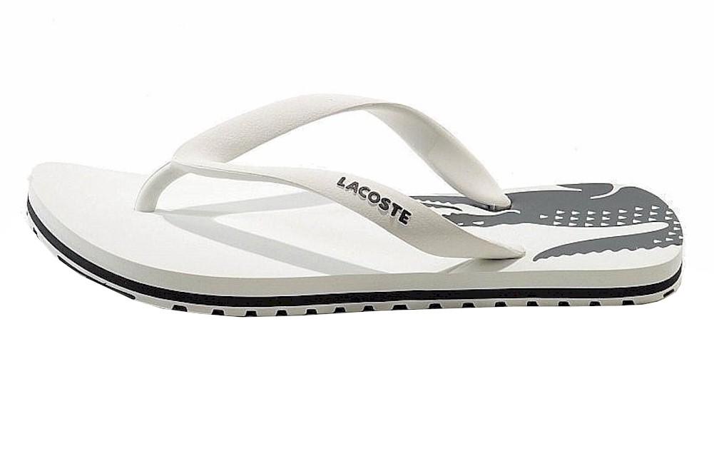 71bb73e773f935 Lacoste Kids Nosara Jaw Fashion Flip Flops White Dark Grey Sandal Shoes