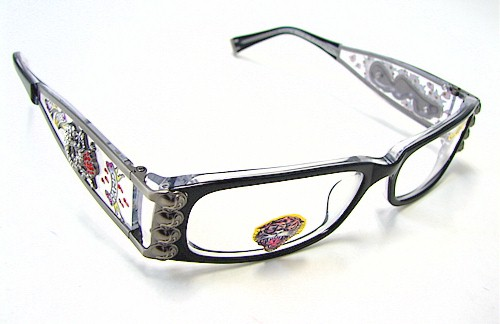 Eyeglass Frame Tattoo : ED HARDY EHO712 Eyeglasses Vintage Tattoo EHO-712 Black ...