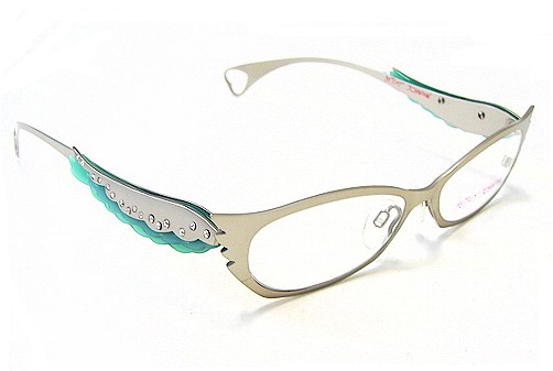 Eyeglass Frames Bjs : BETSEY JOHNSON Angel Eyes BJ 024 Eyeglasses BJ024 Silver ...