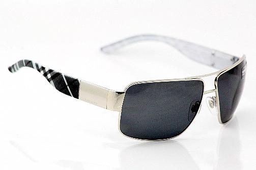 a49a7e02b9e BURBERRY BE3040 Sunglasses Silver Grey Striped 1005 81 Polarized by Burberry