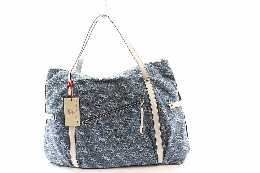 Guess Handbag Sheer Bliss Tote Blue Las Denim Purse Bags By