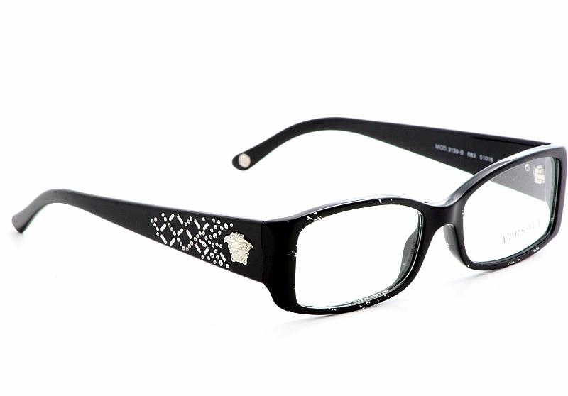 Versace Eyeglasses 3139-B Black Spotted Crystal Optical ...