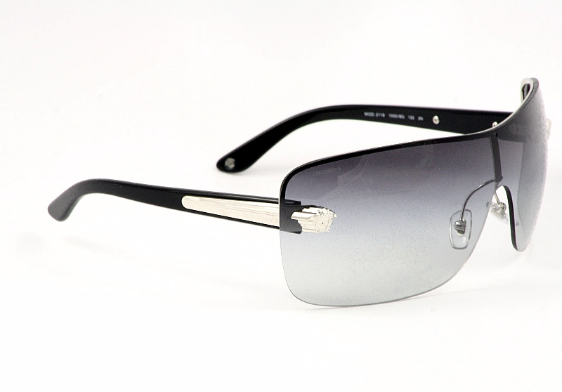Versace Shield Sunglasses  versace sunglasses 2119 1000 8g silver black women s metal shields