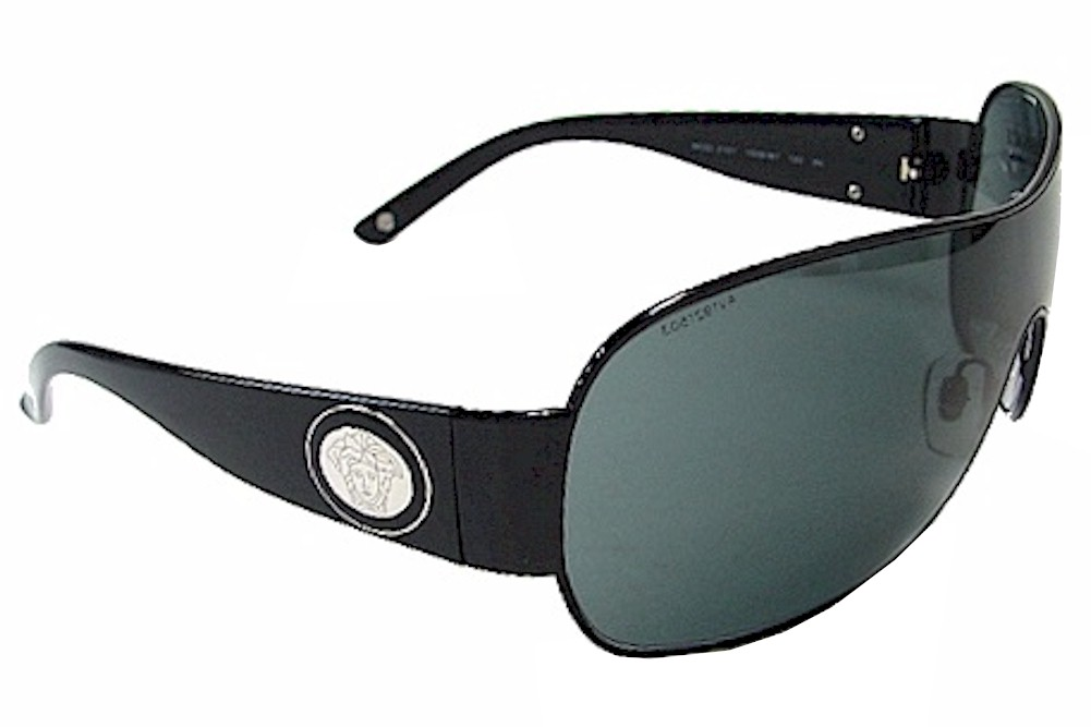 ffb93c19622 Versace VE2101 VE-2101 1009 87 Black Silver Fashion Shield Sunglasses 41mm  by Versace