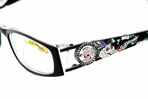 Ed Hardy EHO718 Eyeglasses EHO 718 Black Crystal Optical Frames