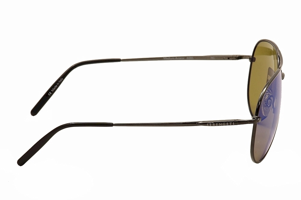 6ec899fccbe8 Serengeti Medium Pilot 8265 Shiny Dark Gun/Mirror Blue Polarized Sunglasses  by Serengeti