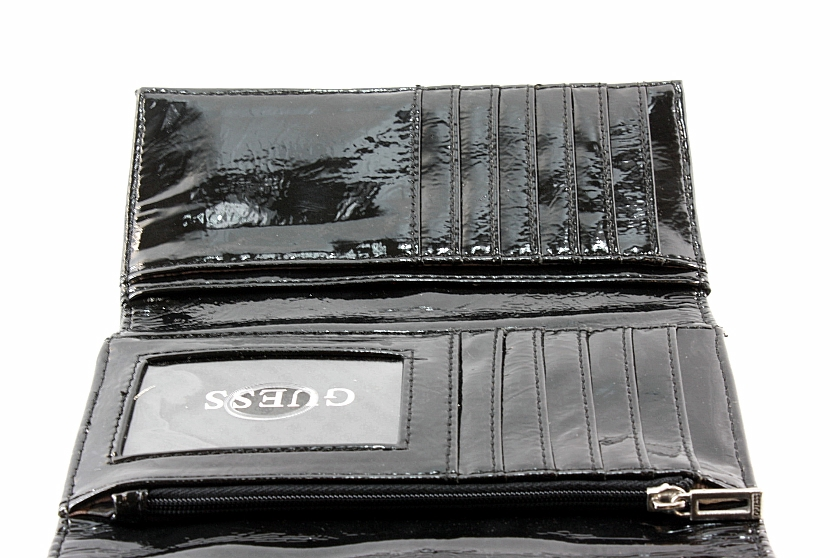 Guess Giada Slg Slim Clutch Wallet Handbag Black Vinyl