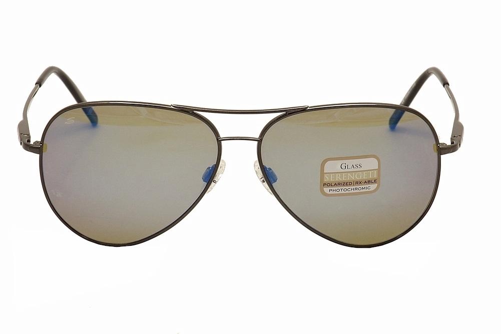 60acc919f33 Serengeti Medium Pilot 8265 Shiny Dark Gun Mirror Blue Polarized Sunglasses  by Serengeti