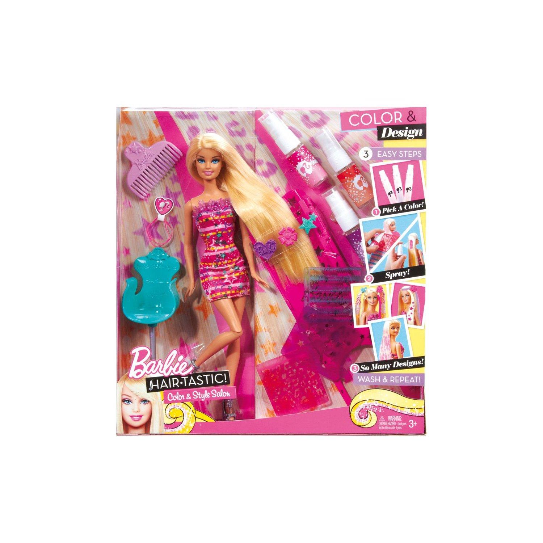 Color And Design Salon Barbie.Barbie Hair Tastic Color Design Salon Doll Toy Set
