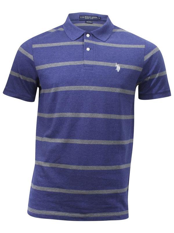 Mens Striped Pique Polo Shirt