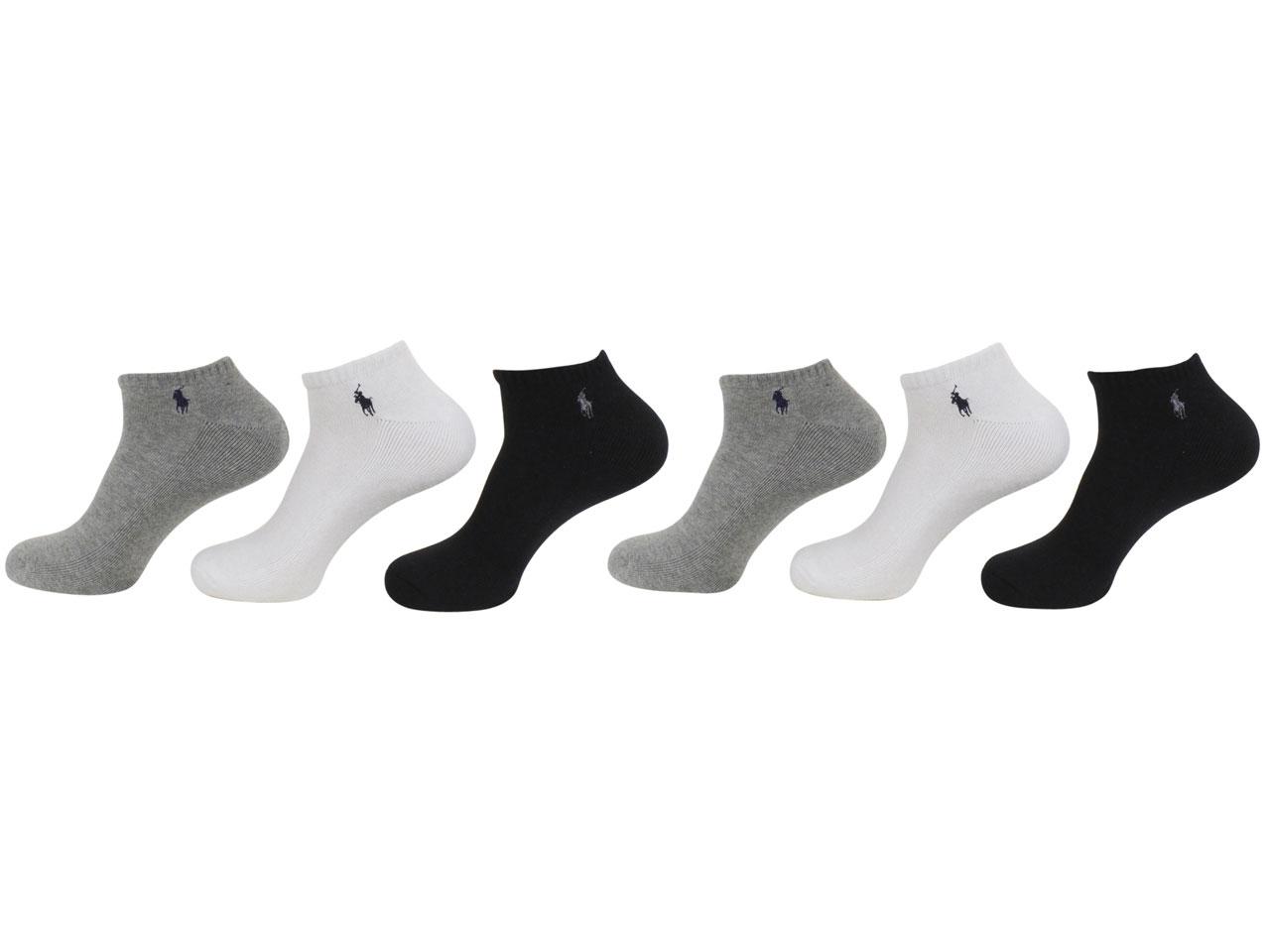 Fits Shoe Sizes 6-12.5 Polo Ralph Lauren Crew Socks 4 Pairs Colors Black//Gray