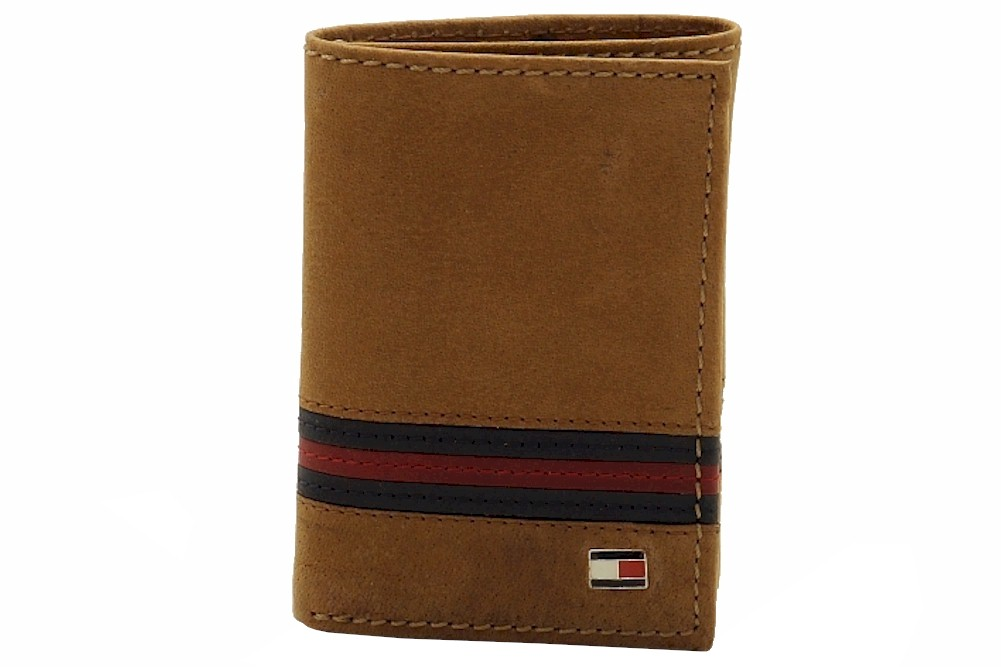 Tommy Hilfiger Men/'s Leather Credit Card ID Wallet Trifold Tan 31TL11X028