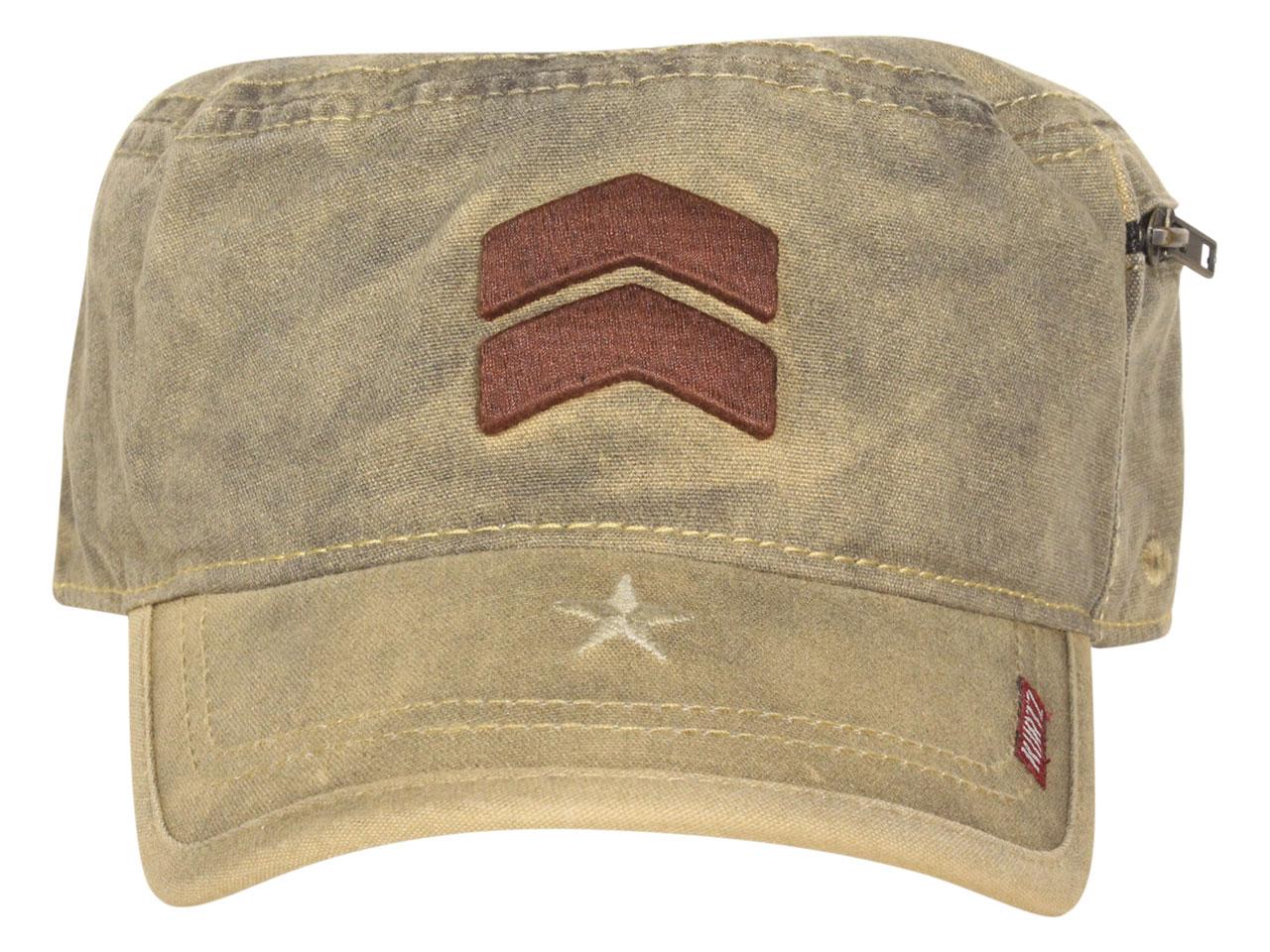 Kurtz Mens Slope Front Military Cap AK566 Fritz Legion Hat Army Cadet OSFM Bk A