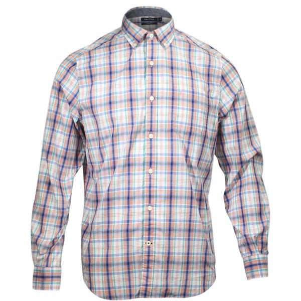 Nautica Long Sleeve Classic Fit Plaid Button Down Shirt