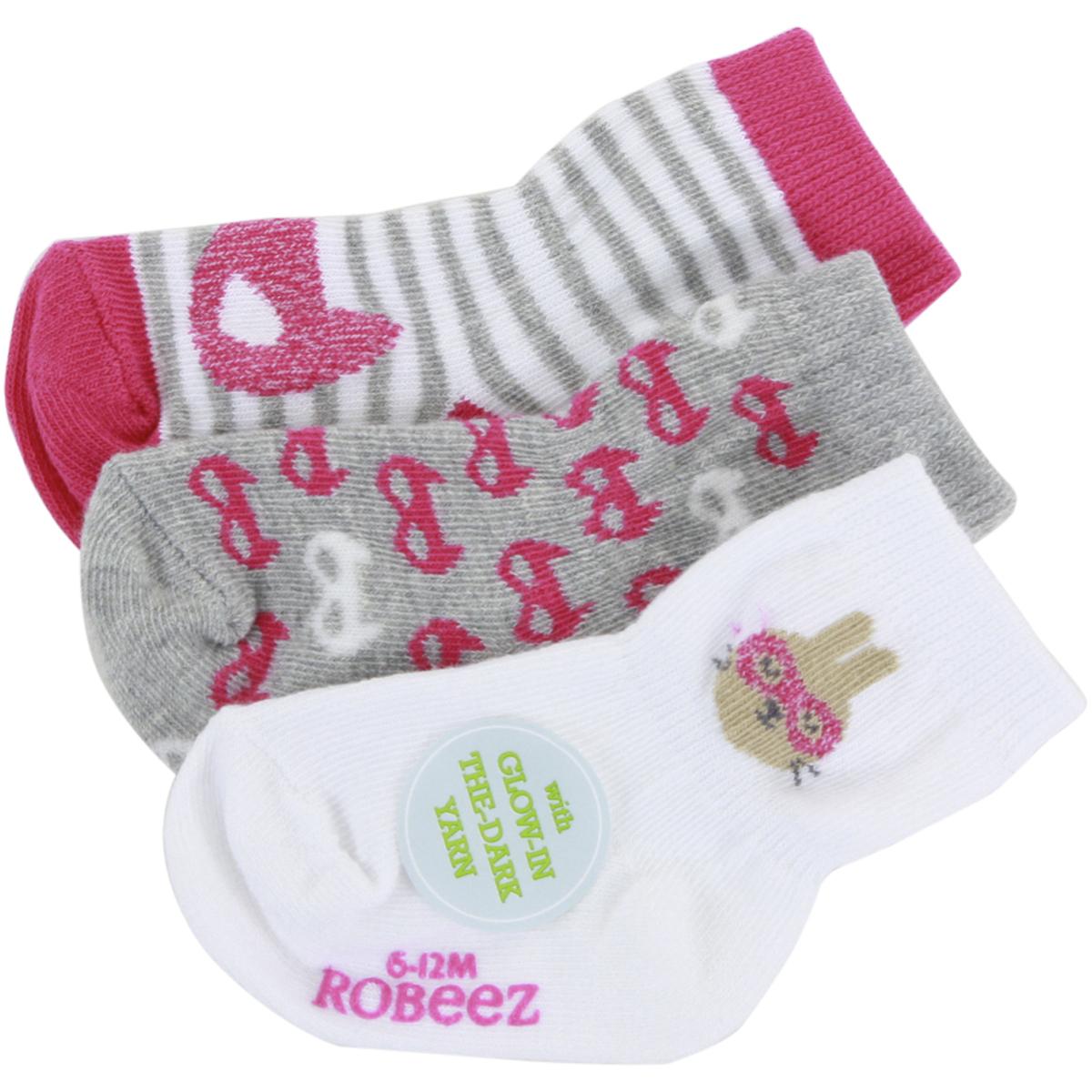 Robeez Baby Girls Animal Love 3 Pack Socks