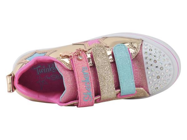 Skechers Little Girl/'s Twinkle Starz Rose Gold Light Up Sneakers Shoes