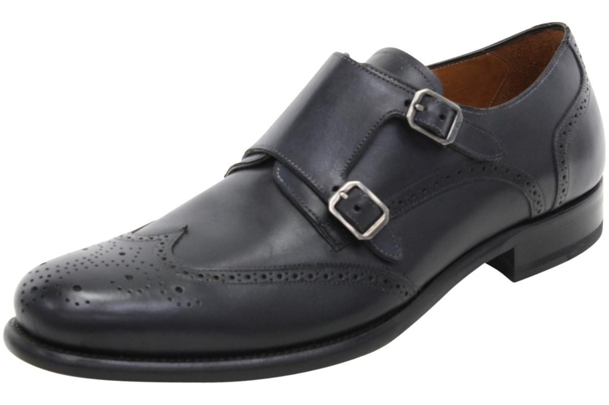 Image of Mezlan Men's Coruna Dressy Double Monk Strap Loafers Shoes - Black - 9.5 D(M) US