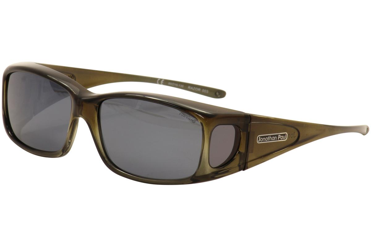 Image of Jonathan Paul Razor RZ003 RZ/003 Small Fitovers Sunglasses - Olive Green/Charcoal Grey Mirror - Lens 60 Bridge 15 Temple 130mm