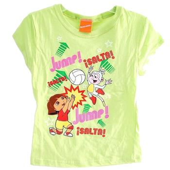 Dora The Explorer Girl's Volleyball Jump Green Cotton Short Sleeve T-Shirt  UPC: