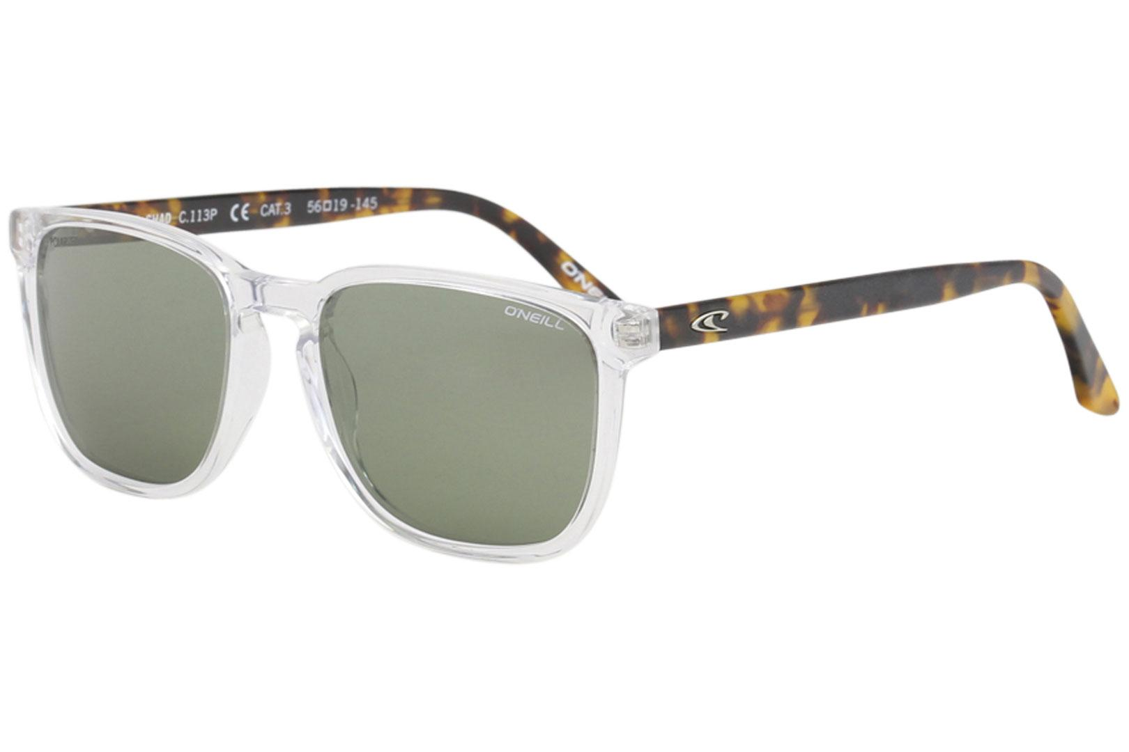 Image of O'Neill Men's Ons Chad Fashion Square Sunglasses - Crystal Tortoise/Green Polarized   113 P - Lens 56 Bridge 19 Temple 145mm