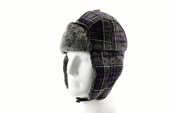 Image of Woolrich Chenille Men's Faux Fur Plaid Earflaps Trapper Hat - Purple