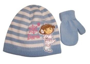 Nick Jr. Dora The Explorer Toddler Beanie Hat & Mittens Set Sz. 2-4  UPC: