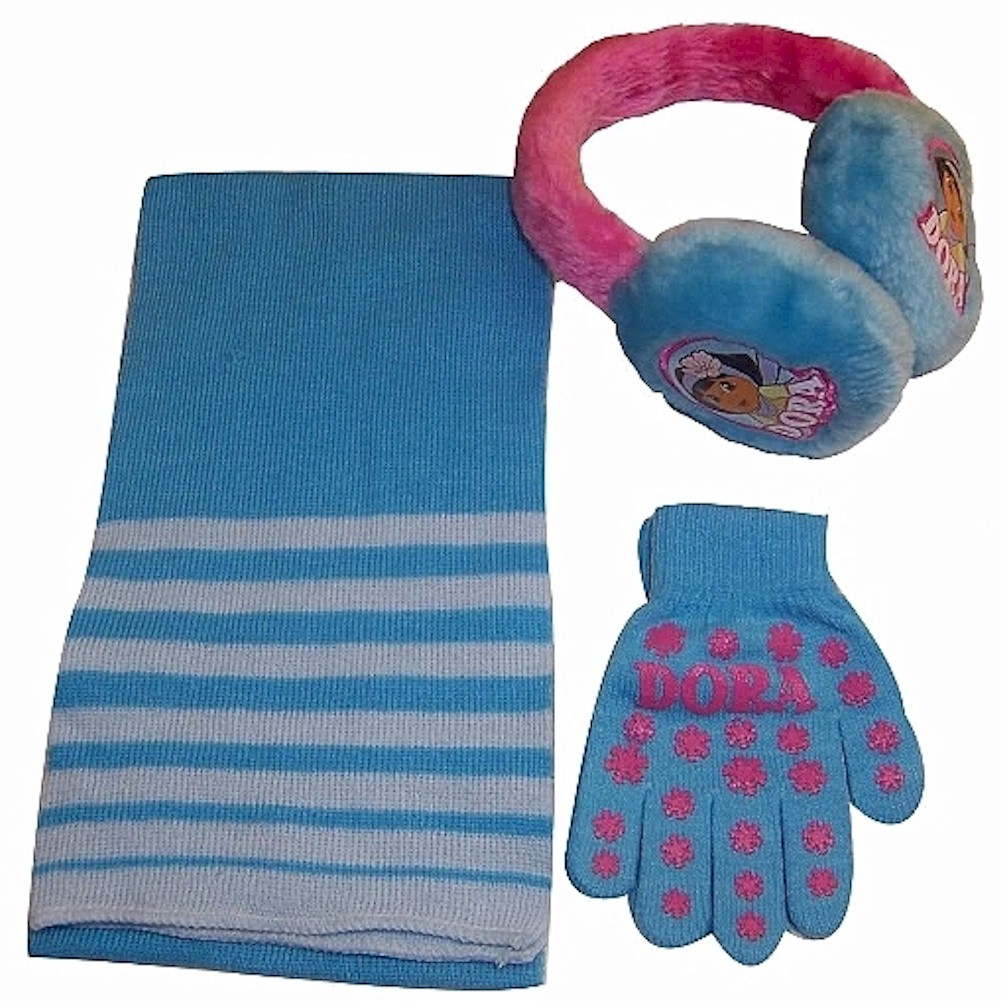 Image of Nick Jr. Dora The Explorer Girl's 3 Piece Winter Set Sz. 4 7 - Blue - 4 7
