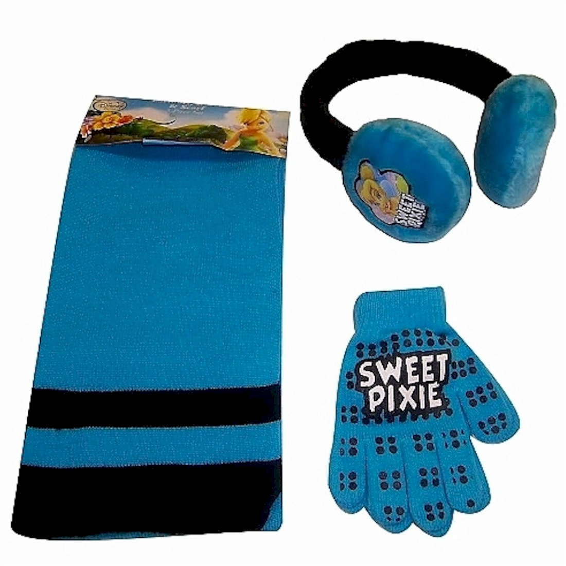 Disney Fairies Princess Tinkerbell Girl s Earmuff Gloves Scarf Set