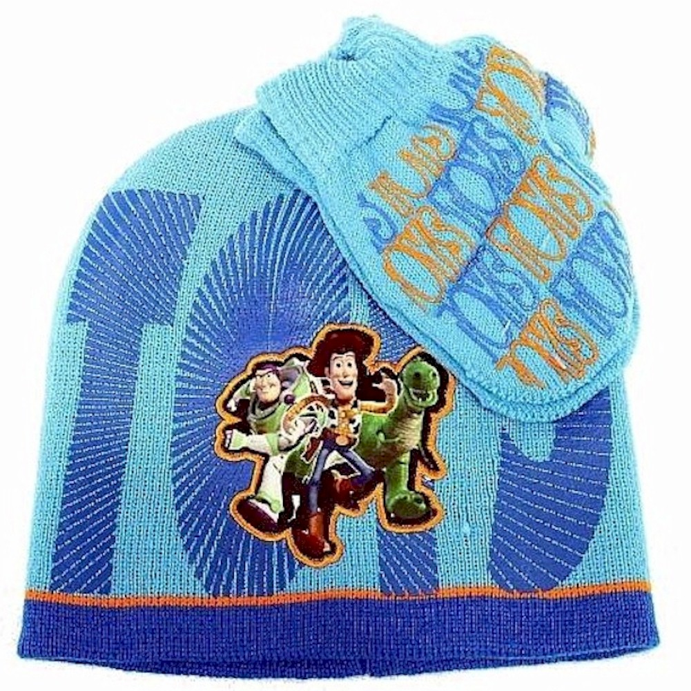 Image of Disney Pixar Toy Story 3 Toddler Knit Beanie Hat & Mitten Set Sz. 2 4T - Blue - 2 4T