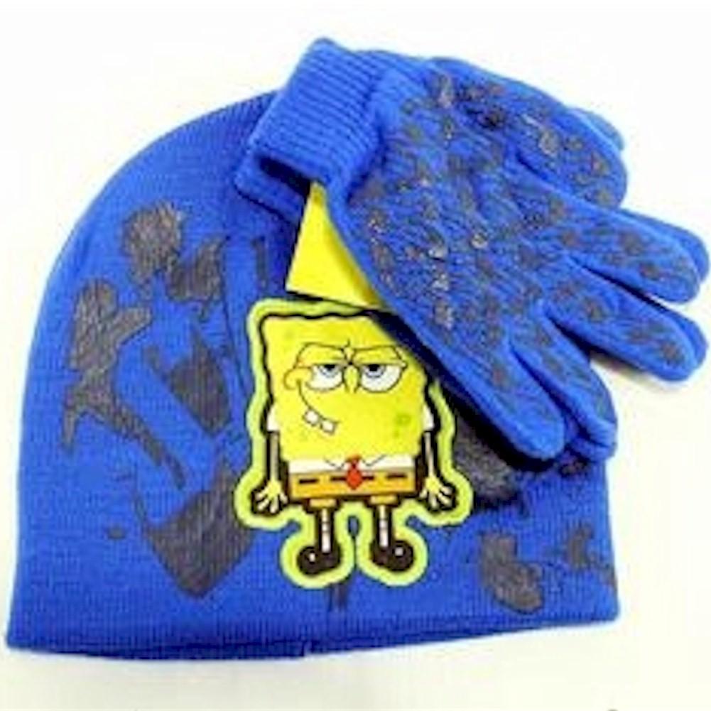 Image of Spongebob Squarepants Boy's Knit Beanie Hat & Glove Set Sz. 4 7 - Blue - 4 7