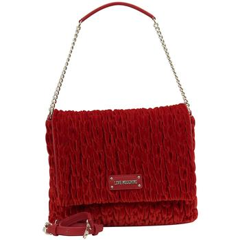 Love Moschino Women's Gathered Velvet Flap Over Shoulder Handbag