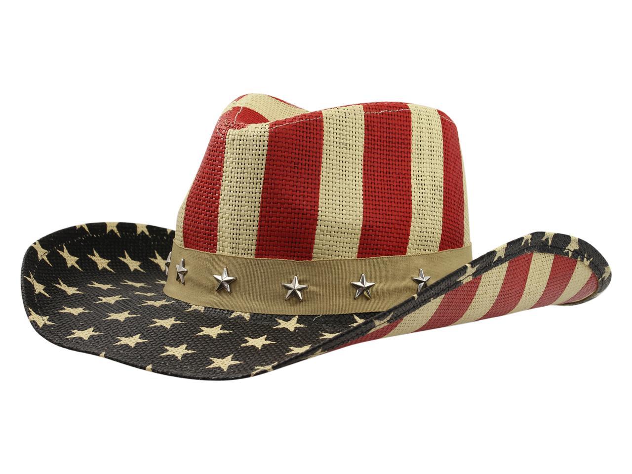 c0edea9d12038 Henschel Men s Hiker Americana Stars   Stripes Raffia Straw Western Hat by  Henschel. 1234