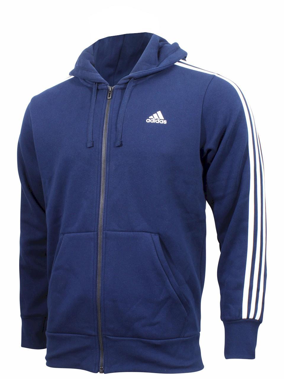 Adidas Men's Essentials 3-Stripes Long Sleeve Full Zip Fleece Hoodie Jacket