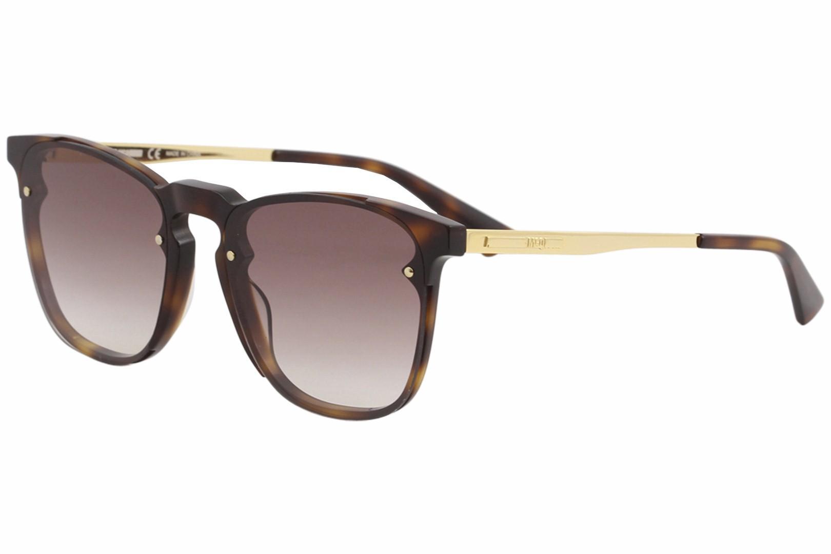 Image of McQ By Alexander McQueen Iconic MQ0134S M/0134/S 002 Havana Sunglasses 55mm - Havana Gold/Brown Gradient   002 - Lens 55 Bridge 18 Temple 145mm