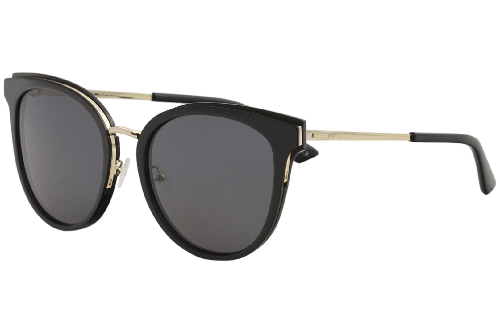 Image of McQ Women's MQ0104SK MQ/0104/SK 001 Black/Gold Fashion Cat Eye Sunglasses 56mm - Black Gold/Grey   001 - Lens 56 Bridge 19 Temple 145mm
