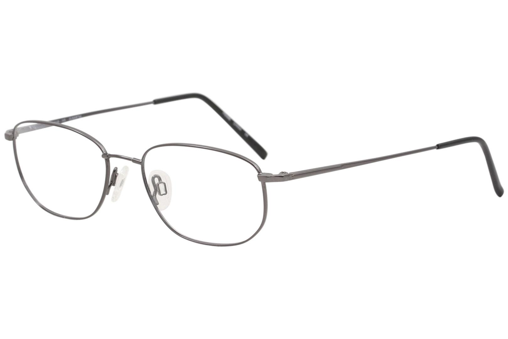 Image of Flexon Men's Eyeglasses 600 033 Gunmetal Full Rim Optical Frame 54mm - Gunmetal   033 - Lens 54 Bridge 18 Temple 145mm