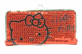 Hello Kitty Kiss Lock Frame Wallet Sequin Slim Clutch  UPC:
