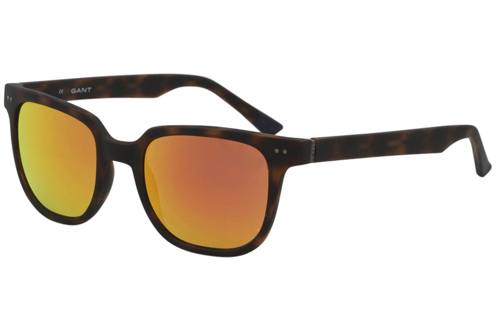 Image of Gant Men's GS7019 GS/7019 Fashion Square Sunglasses - Matte Tortoise/Blue Orange Mirror   MTO/15F - Lens 52 Bridge 20 Temple 145mm