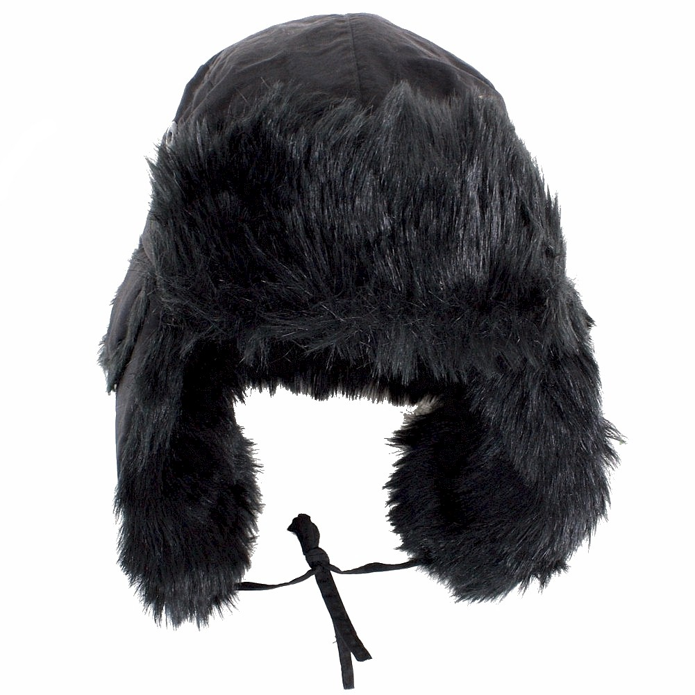 Image of Scala Pronto Faux Fur Trimmed Trooper Cap Hat - Black - One Size