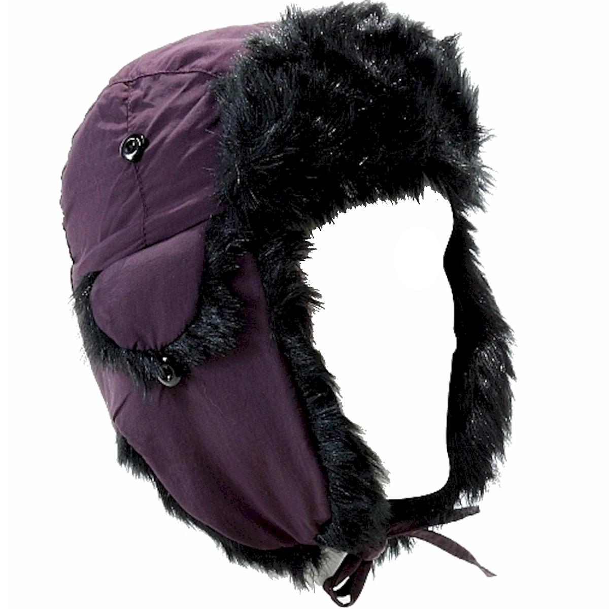 Image of Scala Pronto Faux Fur Trimmed Trooper Cap Hat - Purple - One Size