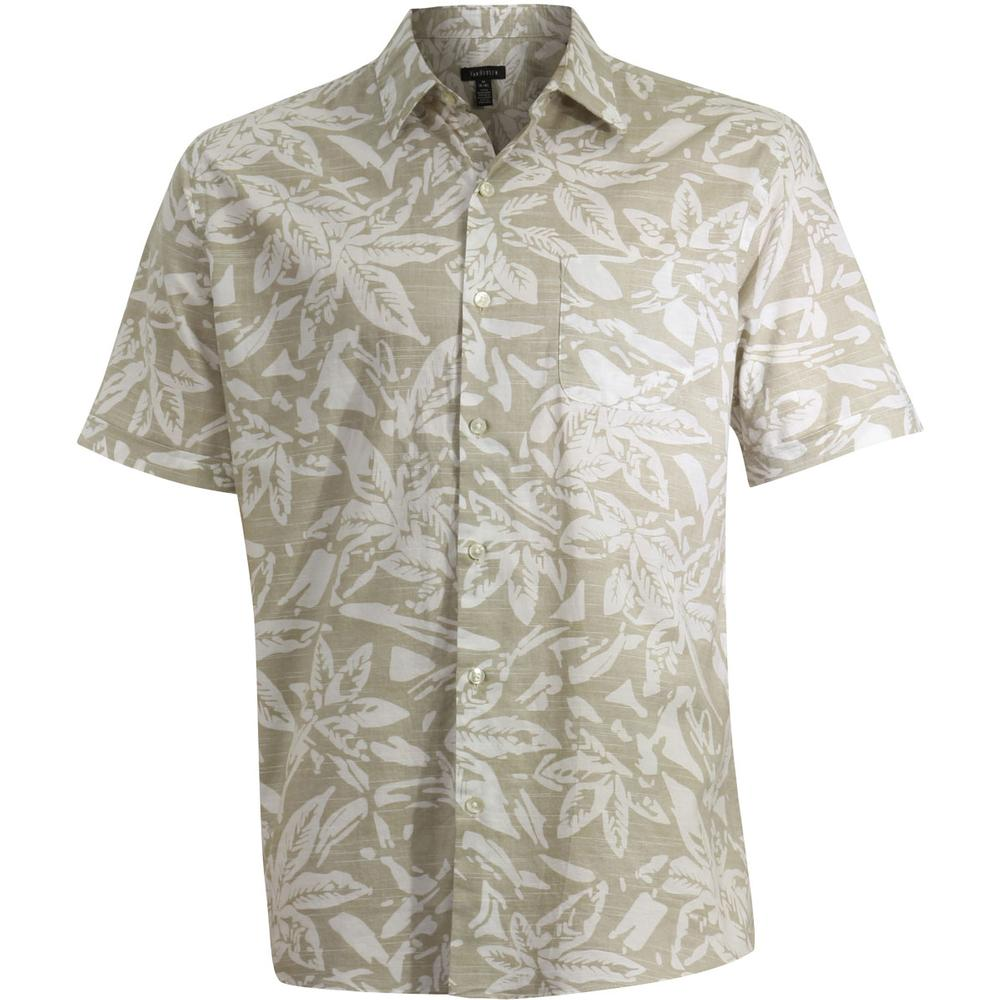 Image of Van Heusen Men's Printed White Washed Short Sleeve Button Down Shirt - Brown - Small