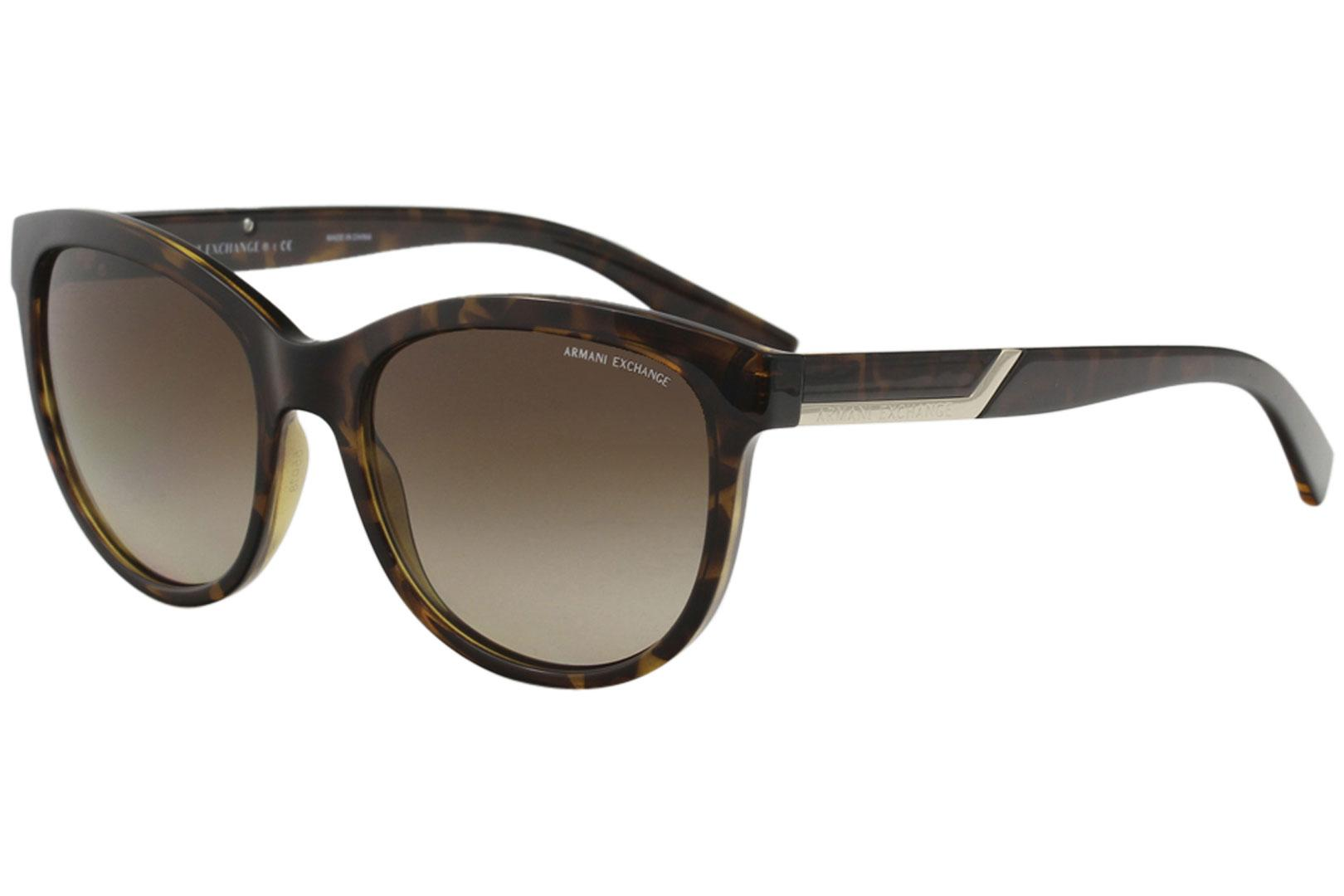 Image of Armani Exchange Women's AX4051S AX/4051/S Fashion Oval Sunglasses - Brown - Lens 55 Bridge 18 Vertical Height 47.4 Effective D