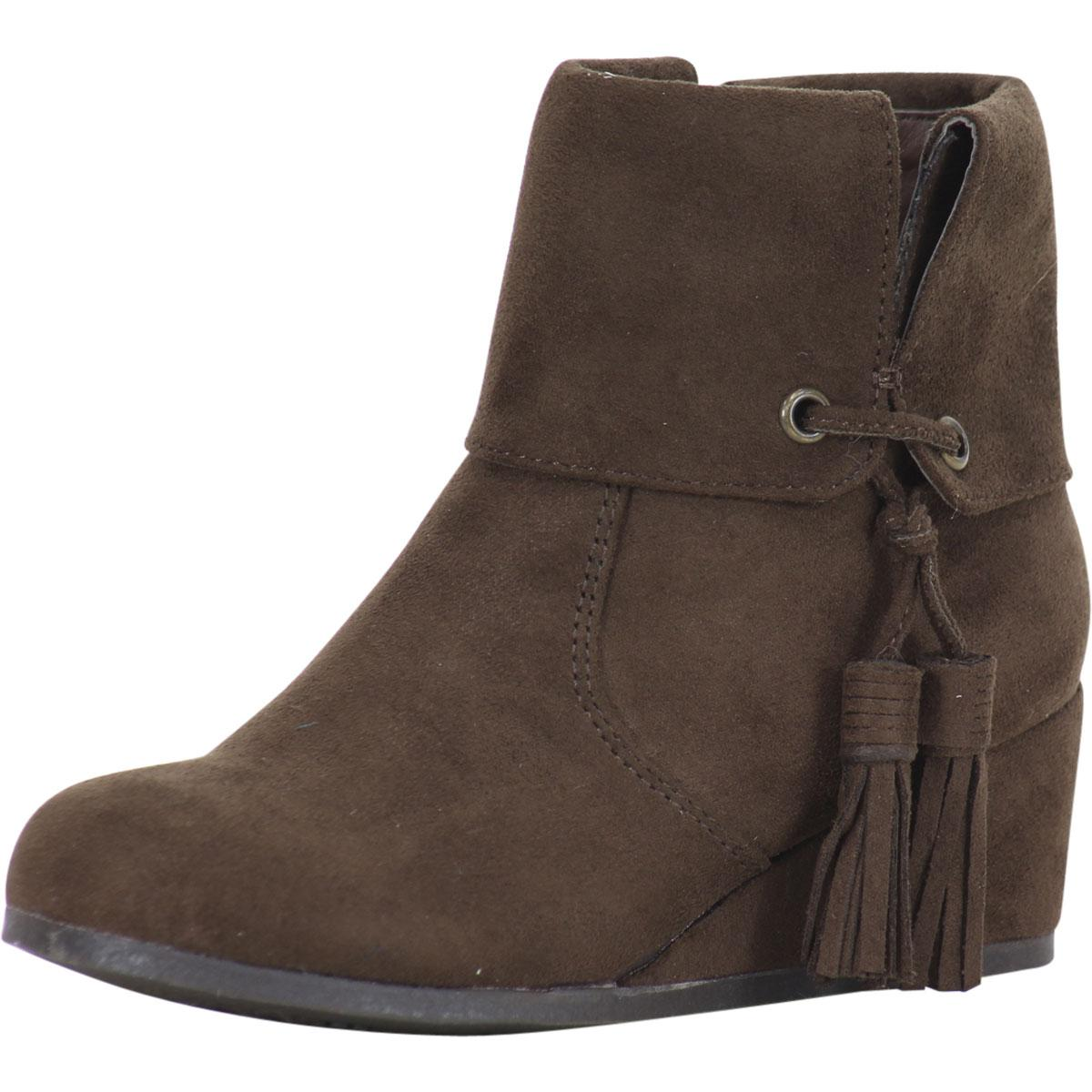 Image of Sugar Little/Big Girl's BonBon Wedge Heel Ankle Boots Shoes - Chocolate - 1 M US Little Kid