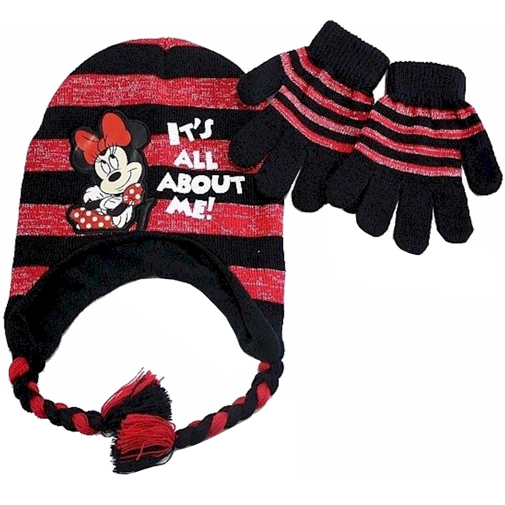 Image of Disney Minnie Mouse Girls Black/Red Striped Beanie & Gloves Set Sz 4 7 - Black - One Size; 4 7