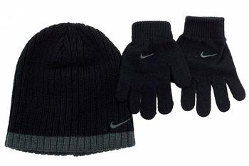 Nike Boy's Ribbed Knit Winter Beanie Hat & Gloves Set UPC: