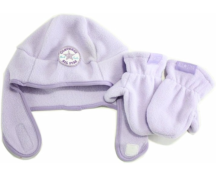 Image of Converse All Star Girl's Fleece Trapper Beanie Hat & Mittens Set - Pastel Lilac - Toddler Girl's 2/4T